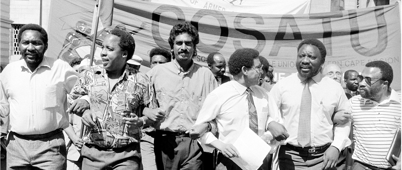 Protest march. From left: Tokyo Sexwale, Chris Hani, Jay Naidoo, Alan Boesak, Cyril Ramaphosa, Tony Yengeni. (Benny Gool)