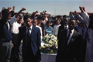 Funeral of a murdered student in Kleinvlei in the Western Cape.