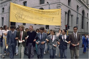 Young men protest against national service, Cape Town city centre in 1989. Kobus Pienaar is on the far right