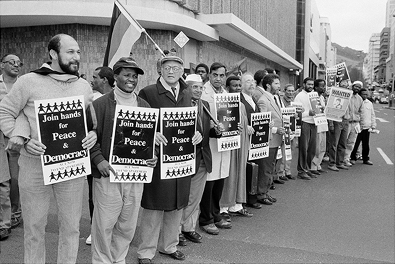 Trevor Manuel, Reggie September, Dullah Omar and others at a mass demonstration in Cape Town
