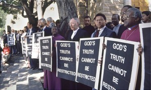 Clerics including Archbishop Desmond Tutu and Alan Boesak stage a protest on the steps of St. George's Cathedral