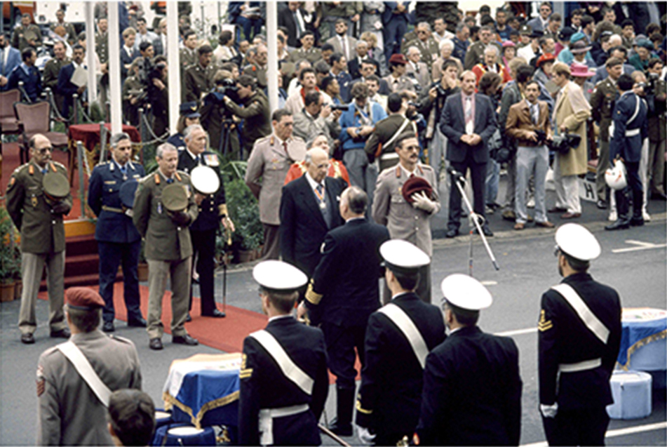The South African Defence Force bids farewell to the former Minister of Defence, Prime Minister, and President of the Republic of South Africa, P.W. Botha at a ceremony held on the streets of Cape Town in late October 1989