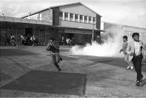 Police tear-gas Defiance Campaign meeting at the Bontehuewel Civic Centre in 1989
