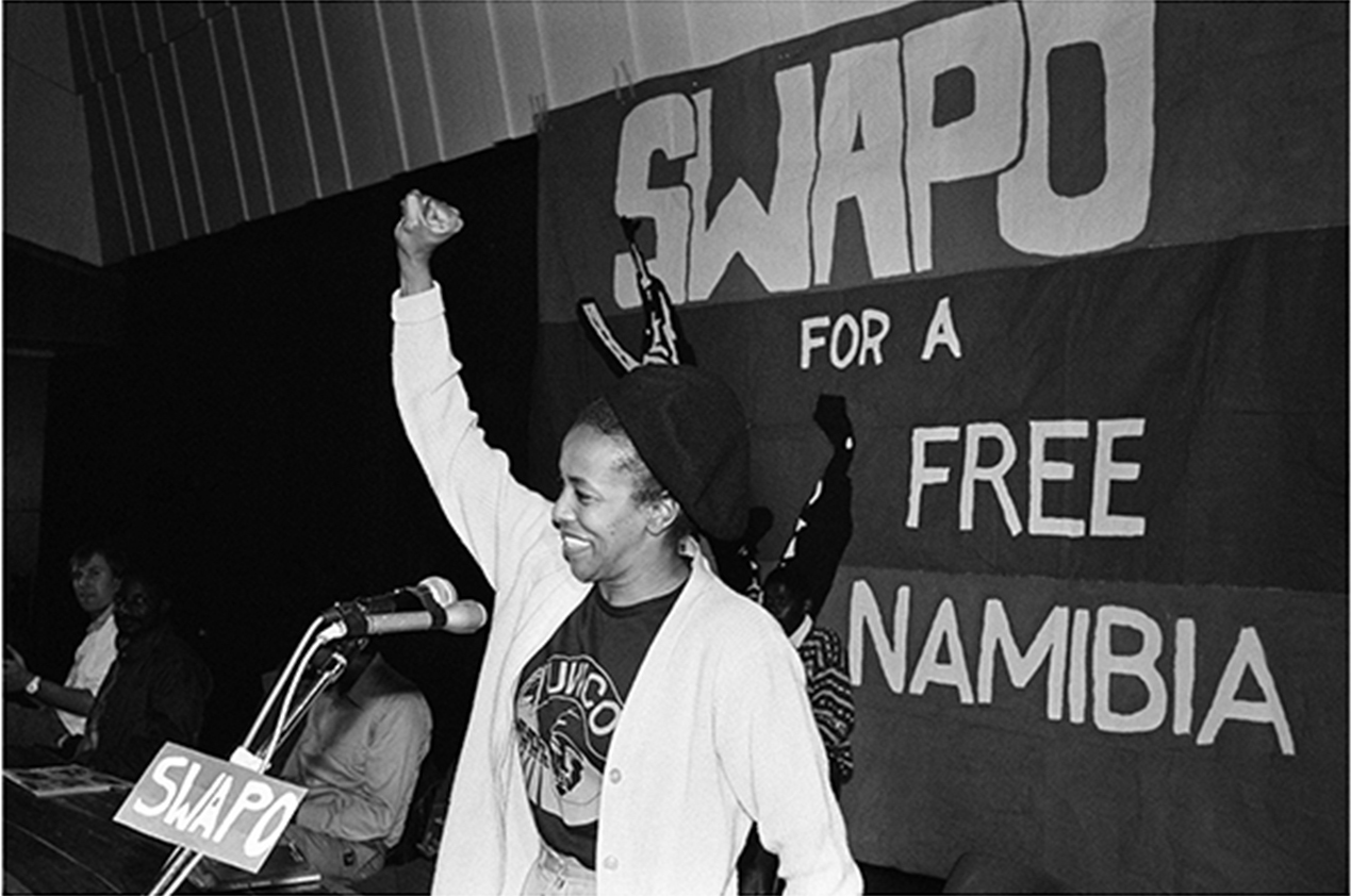 Cheryl Carolus at a SWAPO solidarity meeting in Cape Town