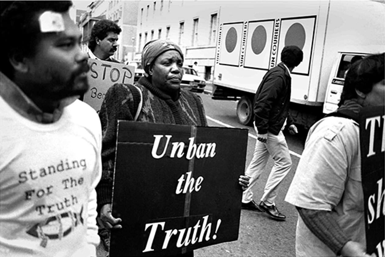 Leah Tutu and others protest outside St George's Cathedral after the last 'white' elections on 6 September 1989 where police killed 29 people