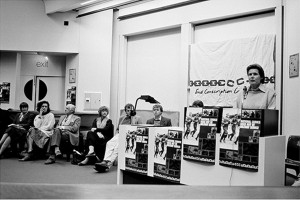 Mary Burton, Bo Petersen (seated from second left) from the Black Sash amongst guest speakers at an End Conscription Campaign meeting in the Beattie Building at UCT.