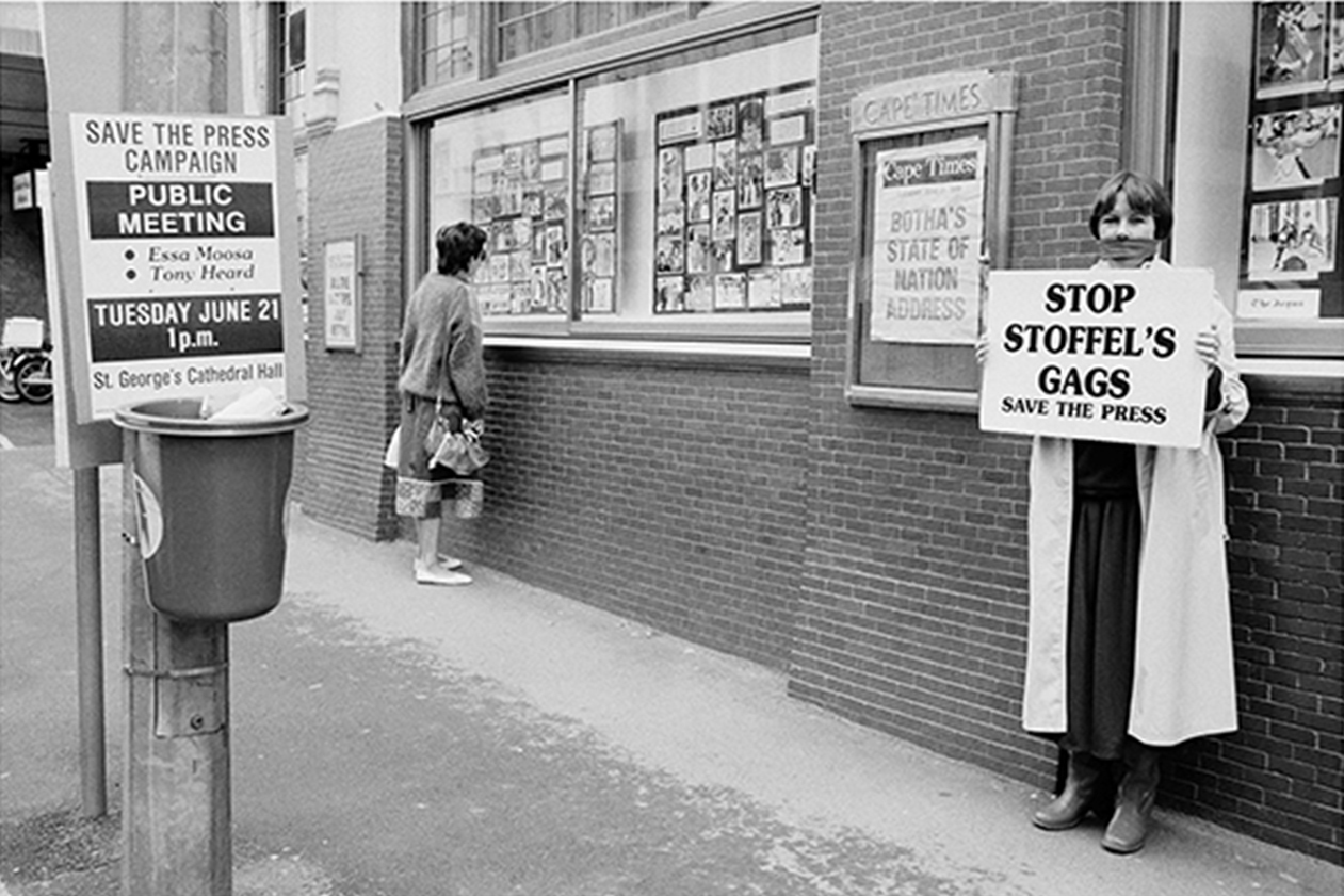 A gagged journalist outside Independent Newspapers in Cape Town protesting against the draconian press laws during the Save the Press Campaign in 1989