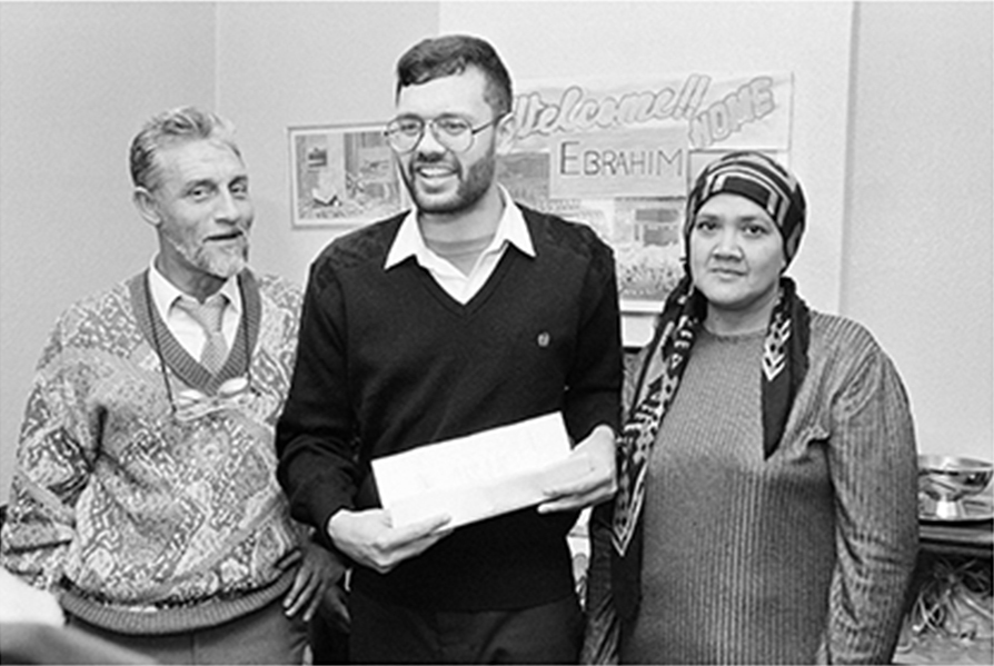 Ebrahim Rasool at home with his parents on his release from detention. July 1988